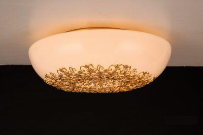 Citilux Торо CL254262 Люстра потолочнаяОжидается<br><br><br>Установка на натяжной потолок: Ограничено<br>S освещ. до, м2: 16<br>Крепление: Планка<br>Тип лампы: галогенная / LED-светодиодная<br>Тип цоколя: G9<br>Цвет арматуры: золотой<br>Количество ламп: 6<br>Диаметр, мм мм: 370<br>Размеры: Диаметр 37см, Высота 16см, Художественное выдувное стекло и ажурный металлический декор.<br>MAX мощность ламп, Вт: 40