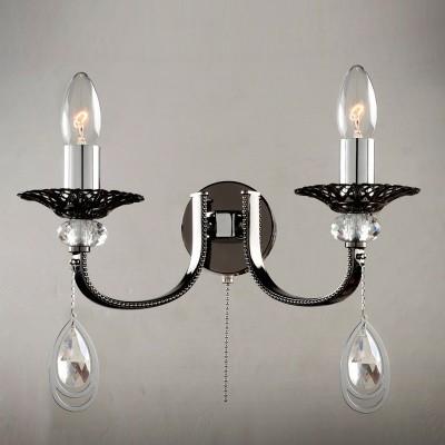 Citilux Оксфорд CL417321 Светильник настенный браСовременные<br><br><br>Тип лампы: Накаливания / энергосбережения / светодиодная<br>Тип цоколя: E14<br>Количество ламп: 2<br>Ширина, мм: 180<br>MAX мощность ламп, Вт: 60<br>Размеры: Ширина 32см, Высота 22см, Глубина 18см<br>Длина, мм: 320<br>Высота, мм: 220<br>Цвет арматуры: черный хром