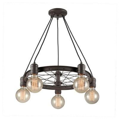 Citilux CL446251 Максвелл Светильник Люстраподвесные люстры лофт<br><br><br>Установка на натяжной потолок: Да<br>S освещ. до, м2: 15<br>Тип лампы: Накаливания / энергосбережения / светодиодная<br>Тип цоколя: E27<br>Цвет арматуры: коричневый<br>Количество ламп: 5<br>Диаметр, мм мм: 550<br>Высота, мм: 500 - 1050<br>MAX мощность ламп, Вт: 60
