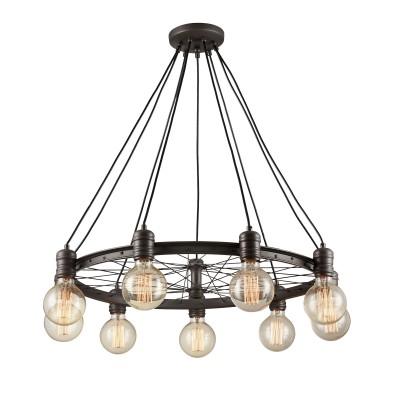 Citilux CL446291 Максвелл Светильник ЛюстраПодвесные<br><br><br>Установка на натяжной потолок: Да<br>S освещ. до, м2: 27<br>Тип лампы: Накаливания / энергосбережения / светодиодная<br>Тип цоколя: E27<br>Цвет арматуры: коричневый<br>Количество ламп: 9<br>Диаметр, мм мм: 720<br>Высота, мм: 500 - 1000<br>MAX мощность ламп, Вт: 60