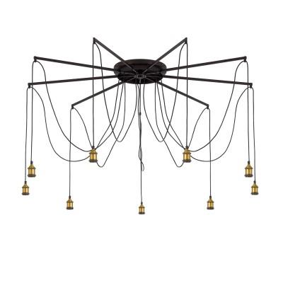 CL451291 Эдисон Св-к ЛюстраПотолочные<br><br><br>S освещ. до, м2: 34<br>Тип лампы: накаливания / энергосбережения / LED-светодиодная<br>Тип цоколя: E27<br>Цвет арматуры: черный<br>Количество ламп: 9<br>Диаметр, мм мм: 1500<br>Высота полная, мм: 2150<br>MAX мощность ламп, Вт: 75