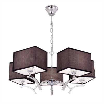 Citilux Эвора Квадро CL460252 Люстра подвеснаяПодвесные<br><br><br>Установка на натяжной потолок: Да<br>S освещ. до, м2: 18<br>Тип лампы: накаливания / энергосбережения / LED-светодиодная<br>Тип цоколя: E27<br>Количество ламп: 5<br>MAX мощность ламп, Вт: 75<br>Диаметр, мм мм: 680<br>Высота, мм: 1200<br>Цвет арматуры: серебристый