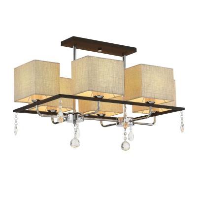 Светильник Citilux CL461161современные потолочные люстры модерн<br><br><br>Тип лампы: Накаливания / энергосбережения / светодиодная<br>Тип цоколя: E27<br>Цвет арматуры: серебристый/коричневый<br>Количество ламп: 6<br>Ширина, мм: 480<br>Высота полная, мм: 590<br>Длина, мм: 750<br>Высота, мм: 410<br>Поверхность арматуры: блестящая<br>Оттенок (цвет): серебристый<br>MAX мощность ламп, Вт: 60<br>Общая мощность, Вт: 360