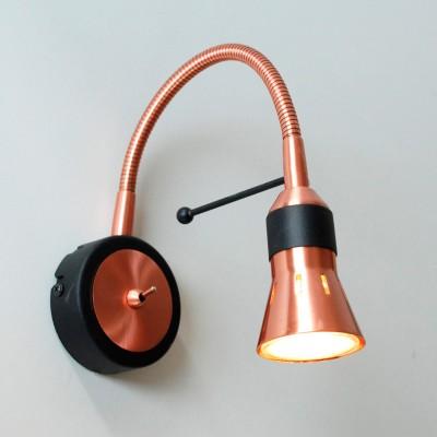Citilux Техно CL503312 Светильник настенный браГибкие<br><br><br>Тип лампы: галогенная / LED-светодиодная<br>Тип цоколя: GU10<br>Цвет арматуры: медный, черный<br>Количество ламп: 1<br>Ширина, мм: 90<br>Размеры: С выключателем, Лампа GU10 приложена, Высота 25см, Ширина 9см, Глубина 20см, Размер головки 9см.<br>Расстояние от стены, мм: 200<br>Высота, мм: 250<br>MAX мощность ламп, Вт: 50