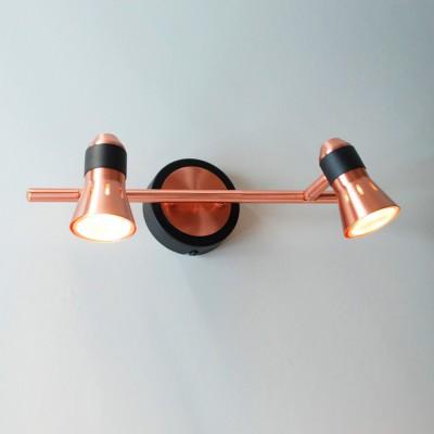 Citilux Техно CL503522 Светильник настенно-потолочныйДвойные<br><br><br>S освещ. до, м2: 5<br>Тип лампы: галогенная / LED-светодиодная<br>Тип цоколя: GU10<br>Цвет арматуры: медный, черный<br>Количество ламп: 2<br>Ширина, мм: 330<br>Размеры: Лампа GU10 приложена, Ширина 33см, Глубина 15см, Размер головки 9см.<br>Расстояние от стены, мм: 150<br>MAX мощность ламп, Вт: 50