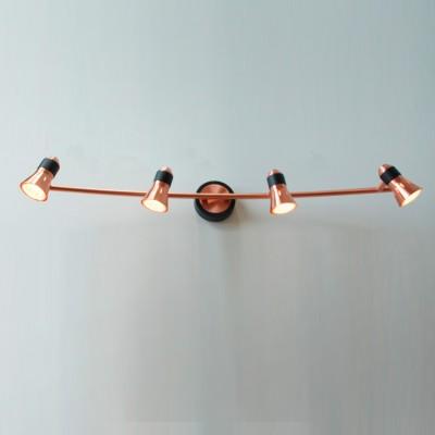 Citilux Техно CL503542 Светильник настенно-потолочныйС 4 лампами<br><br><br>S освещ. до, м2: 10<br>Тип лампы: галогенная / LED-светодиодная<br>Тип цоколя: GU10<br>Цвет арматуры: медный, черный<br>Количество ламп: 4<br>Ширина, мм: 770<br>Размеры: Лампа GU10 приложена, Ширина 77см, Глубина 16см, Размер головки 9см.<br>Расстояние от стены, мм: 160<br>MAX мощность ламп, Вт: 50
