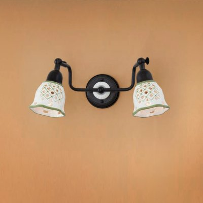 Citilux CL534522 Светильник настенный браРустика<br><br><br>S освещ. до, м2: 8<br>Тип лампы: накаливания / энергосбережения / LED-светодиодная<br>Тип цоколя: E14<br>Количество ламп: 2<br>Ширина, мм: 310<br>MAX мощность ламп, Вт: 60<br>Размеры: Ширина 31см, Высота 14см, Глубина 16см, Размер головки 14см, Ажурный керамическиий плафон с ручной росписью<br>Расстояние от стены, мм: 160<br>Высота, мм: 140<br>Поверхность арматуры: матовый<br>Цвет арматуры: черный