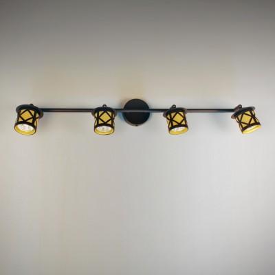 Citilux Гессен CL536541 Светильник настенно-потолочныйС 4 лампами<br><br><br>Тип лампы: галогенная / LED-светодиодная<br>Тип цоколя: GU10<br>Количество ламп: 4<br>Ширина, мм: 740<br>MAX мощность ламп, Вт: 50<br>Размеры: Диаметр основания 9см, Длина штанги 74см, Глубина до 14см, Размер головки 9см<br>Расстояние от стены, мм: 140<br>Поверхность арматуры: матовый<br>Цвет арматуры: коричневый