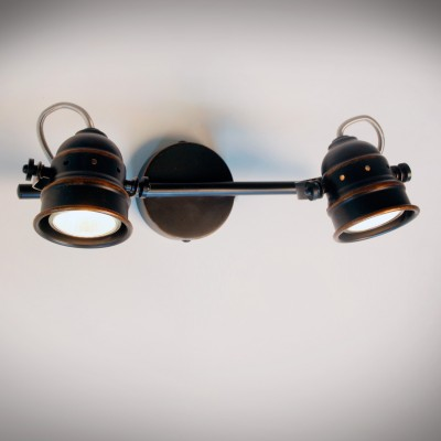 Citilux Веймар CL537521 Светильник настенно-потолочныйДвойные<br><br><br>Тип лампы: галогенная / LED-светодиодная<br>Тип цоколя: GU10<br>Количество ламп: 2<br>Ширина, мм: 300<br>MAX мощность ламп, Вт: 50<br>Размеры: Диаметр основания 9см, Длина штанги 30см, Глубина до 16см, Размер головки 9см<br>Расстояние от стены, мм: 160<br>Цвет арматуры: коричневый