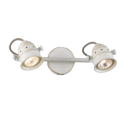 Citilux Веймар CL537522 Светильник настенно-потолочныйДвойные<br><br><br>Тип лампы: галогенная / LED-светодиодная<br>Тип цоколя: GU10<br>Количество ламп: 2<br>Ширина, мм: 300<br>MAX мощность ламп, Вт: 50<br>Размеры: Диаметр основания 9см, Длина штанги 30см, Глубина до 16см, Размер головки 9см<br>Расстояние от стены, мм: 160<br>Цвет арматуры: белый с золотистой патиной