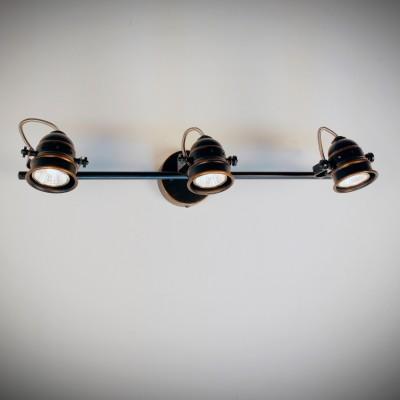 Citilux Веймар CL537531 Светильник настенно-потолочныйТройные<br><br><br>Тип лампы: галогенная / LED-светодиодная<br>Тип цоколя: GU10<br>Количество ламп: 3<br>Ширина, мм: 520<br>MAX мощность ламп, Вт: 50<br>Размеры: Диаметр основания 9см, Длина штанги 52см, Глубина до 16см, Размер головки 9см<br>Расстояние от стены, мм: 160<br>Цвет арматуры: коричневый