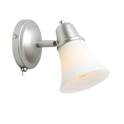 Светильник Citilux CL560511 Модернклассические бра<br><br><br>Тип лампы: накаливания / энергосбережения / LED-светодиодная<br>Тип цоколя: E14<br>Цвет арматуры: серебристый<br>Количество ламп: 1<br>Диаметр, мм мм: 120<br>Размеры: Настенно-потолочный светильник к трековой системе, размер головки 12см, лампы Е14 или R50, Белое стекло и современный дизайн, с выключателем<br>Поверхность арматуры: матовый<br>MAX мощность ламп, Вт: 60