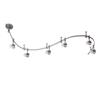Citilux Трек CL561161 Трековый светильникСветильники для трека<br><br><br>Тип лампы: галогенная<br>Тип цоколя: GU10<br>Количество ламп: 6<br>MAX мощность ламп, Вт: 50<br>Размеры: Трековая система 220V на гибкой шине длиной 200см, в комплекте 6 стоек крепления шины и 6 головок, размер головки 11см, лампы GU10, Белое стекло и современный дизайн<br>Длина, мм: 2000<br>Поверхность арматуры: матовый<br>Цвет арматуры: серебристый