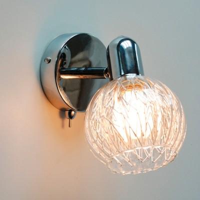 Светильник Citilux CL604511 ПопурриХай-тек<br><br><br>Тип лампы: накаливания / энергосбережения / LED-светодиодная<br>Тип цоколя: E14<br>Количество ламп: 1<br>MAX мощность ламп, Вт: 60<br>Диаметр, мм мм: 100<br>Размеры: Светильник с головками на гибких элементах, длина гибкого элемента 32см, размер головки 13см, цветное стекло с внутренним алюминиевым декором<br>Расстояние от стены, мм: 160<br>Цвет арматуры: серебристый хром