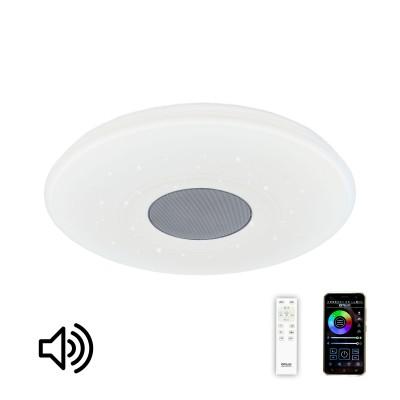 Citilux Старлайт CL703M50 Светильник музыкальныйКруглые<br>Это отличное решение для тех кому важен комфортный свет, качественный звук в сочетании с современным дизайном и энергоэффективностью. Управление с телефона  создает дополнительное удобство.  Высокотехнологичная световая начинка, изначально присущая люстрам ситилюкс здесь дополнена широкополосной аккустической системой с отдельным сабвуфером, что дает глубокие басы, при этом сохраняя богатый звук на средних и высоких частотах. Установив интуитивно понятное приложение на смартфон, вы получаете действительно многофункциональное блютуз устройство: программируемые цветовые сочетания во всем спектре RGB, режимы будильника и ночника. Наслаждайтесь любимой музыкой с телефона -  теперь это удобно. Предустановленные световые эффекты создадут уют вечером или превратят вашу комнату в клуб для веселой вечеринки. Управление яркостью, цветовой температурой и музыкой также доступны с пульта. Настенным выключателем можно управлять основными световыми режимами. Светильник доступен в двух вариантах оформления плафона: классический плафон старлайт с эффектом игры хрустальных бликов и дизайнерский вариант с тематическими музыкальными рисунками (оркестр).<br><br>S освещ. до, м2: 12<br>Тип лампы: LED-светодиодная<br>Тип цоколя: LED<br>Цвет арматуры: серебристый<br>MAX мощность ламп, Вт: 60