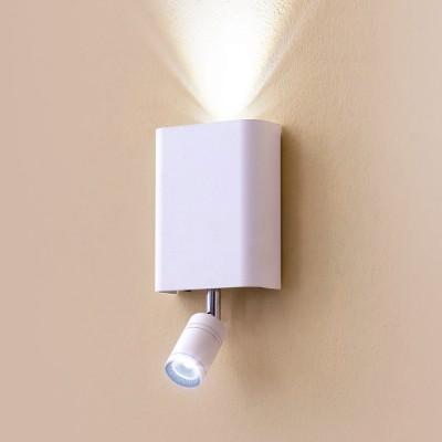 Citilux Декарт CL704410 Светильник настенный браХай-тек<br><br><br>Цветовая t, К: 3000<br>Тип лампы: LED<br>Тип цоколя: LED<br>Количество ламп: 2<br>Ширина, мм: 100<br>MAX мощность ламп, Вт: 3<br>Размеры: Ширина 9см, Высота 11см, Глубина 3,5см (без учета поворотной головки для чтения), Отдельные выключатели верхнего света и света для чтения, мощность 3W+3W<br>Длина, мм: 205<br>Высота, мм: 45<br>Цвет арматуры: белый