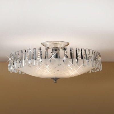 Citilux CL916151 ЛюстраПотолочные<br><br><br>Установка на натяжной потолок: Да<br>S освещ. до, м2: 25<br>Крепление: Планка<br>Тип товара: Люстра<br>Тип лампы: накаливания / энергосбережения / LED-светодиодная<br>Тип цоколя: E27<br>Количество ламп: 5<br>MAX мощность ламп, Вт: 75<br>Диаметр, мм мм: 580<br>Размеры: Диаметр 58см, Высота 26см, с хрустальными подвесками<br>Высота, мм: 260<br>Поверхность арматуры: глянцевый<br>Цвет арматуры: серебристый