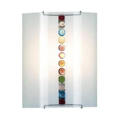 Citilux Конфетти CL921302 Светильник настенный браНакладные<br><br><br>S освещ. до, м2: 6<br>Тип лампы: накаливания / энергосбережения / LED-светодиодная<br>Тип цоколя: E27<br>Цвет арматуры: серебристый<br>Количество ламп: 1<br>Ширина, мм: 200<br>Размеры: Стеклянный рассеиватель, Разноцветные элементы приклеены изнутри, Высота 25см, Ширина 20см, Глубина 9см.<br>Расстояние от стены, мм: 90<br>Высота, мм: 250<br>Поверхность арматуры: глянцевый<br>MAX мощность ламп, Вт: 100