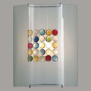 Citilux Конфетти CL921311 Светильник настенный браНакладные<br><br><br>S освещ. до, м2: 6<br>Тип товара: Светильник настенный бра<br>Тип лампы: накаливания / энергосбережения / LED-светодиодная<br>Тип цоколя: E27<br>Количество ламп: 1<br>Ширина, мм: 200<br>MAX мощность ламп, Вт: 100<br>Размеры: Стеклянный рассеиватель, Кофейные и Желтые элементы приклеены изнутри,  Высота 25см, Ширина 20см, Глубина 9см.<br>Расстояние от стены, мм: 90<br>Высота, мм: 250<br>Поверхность арматуры: глянцевый<br>Цвет арматуры: серебристый