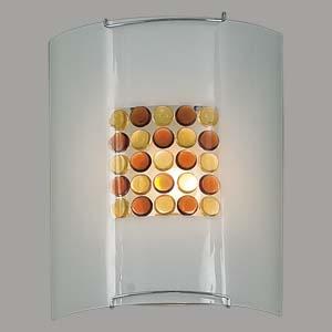 Citilux Конфетти CL921312 Светильник настенный браНакладные<br><br><br>S освещ. до, м2: 6<br>Тип лампы: накаливания / энергосбережения / LED-светодиодная<br>Тип цоколя: E27<br>Количество ламп: 1<br>Ширина, мм: 200<br>MAX мощность ламп, Вт: 100<br>Размеры: Стеклянный рассеиватель, Кофейные и Желтые элементы приклеены изнутри,  Высота 25см, Ширина 20см, Глубина 9см.<br>Расстояние от стены, мм: 90<br>Высота, мм: 250<br>Поверхность арматуры: глянцевый<br>Цвет арматуры: серебристый