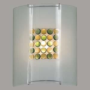 Citilux Конфетти CL921314 Светильник настенный браНакладные<br><br><br>S освещ. до, м2: 6<br>Тип лампы: накаливания / энергосбережения / LED-светодиодная<br>Тип цоколя: E27<br>Количество ламп: 1<br>Ширина, мм: 200<br>MAX мощность ламп, Вт: 100<br>Размеры: Стеклянный рассеиватель, Кофейные и Желтые элементы приклеены изнутри,  Высота 25см, Ширина 20см, Глубина 9см.<br>Расстояние от стены, мм: 90<br>Высота, мм: 250<br>Поверхность арматуры: глянцевый<br>Цвет арматуры: серебристый