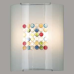 Citilux Конфетти CL922311 Светильник настенный браНакладные<br><br><br>S освещ. до, м2: 13<br>Тип лампы: накаливания / энергосбережения / LED-светодиодная<br>Тип цоколя: E27<br>Количество ламп: 2<br>Ширина, мм: 240<br>MAX мощность ламп, Вт: 100<br>Размеры: Стеклянный рассеиватель, Разноцветные элементы приклеены изнутри, Высота 30см, Ширина 24см, Глубина 11см.<br>Расстояние от стены, мм: 110<br>Высота, мм: 300<br>Поверхность арматуры: глянцевый<br>Цвет арматуры: серебристый