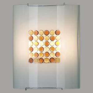 Citilux Конфетти CL922312 Светильник настенный браНакладные<br><br><br>S освещ. до, м2: 13<br>Тип лампы: накаливания / энергосбережения / LED-светодиодная<br>Тип цоколя: E27<br>Количество ламп: 2<br>Ширина, мм: 240<br>MAX мощность ламп, Вт: 100<br>Размеры: Стеклянный рассеиватель, Кофейные и Желтые элементы приклеены изнутри, Высота 30см, Ширина 24см, Глубина 11см.<br>Расстояние от стены, мм: 110<br>Высота, мм: 300<br>Поверхность арматуры: глянцевый<br>Цвет арматуры: серебристый
