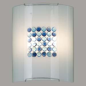 Citilux Конфетти CL922313 Светильник настенный браНакладные<br><br><br>S освещ. до, м2: 13<br>Тип лампы: накаливания / энергосбережения / LED-светодиодная<br>Тип цоколя: E27<br>Цвет арматуры: серебристый<br>Количество ламп: 2<br>Ширина, мм: 240<br>Размеры: Стеклянный рассеиватель, Синие и Голубые элементы приклеены изнутри, Высота 30см, Ширина 24см, Глубина 11см.<br>Расстояние от стены, мм: 110<br>Высота, мм: 300<br>Поверхность арматуры: глянцевый<br>MAX мощность ламп, Вт: 100