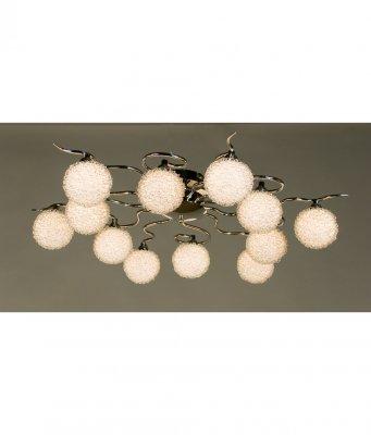 Citilux CL218121 ЛюстраПотолочные<br><br><br>Установка на натяжной потолок: Ограничено<br>S освещ. до, м2: 32<br>Крепление: Планка<br>Тип товара: Люстра<br>Тип лампы: галогенная / LED-светодиодная<br>Тип цоколя: G9<br>Количество ламп: 12<br>MAX мощность ламп, Вт: 40<br>Размеры: Диаметр 73см, Высота 17см, Стекло с декором из алюм. проволоки<br>Поверхность арматуры: глянцевый<br>Цвет арматуры: серебристый
