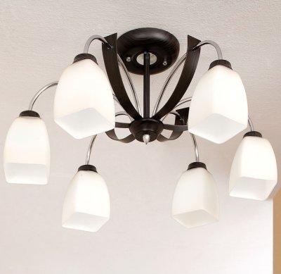 Citilux Крокус CL128161 ЛюстраПотолочные<br><br><br>Установка на натяжной потолок: Да<br>S освещ. до, м2: 30<br>Крепление: Планка<br>Тип товара: Люстра<br>Тип лампы: накаливания / энергосбережения / LED-светодиодная<br>Тип цоколя: E27<br>Количество ламп: 6<br>MAX мощность ламп, Вт: 75<br>Диаметр, мм мм: 580<br>Размеры: Диаметр 67 см. Высота 34 см. Выдувное молочнобелое стекло.<br>Высота, мм: 310<br>Поверхность арматуры: глянцевый<br>Цвет арматуры: серебристый
