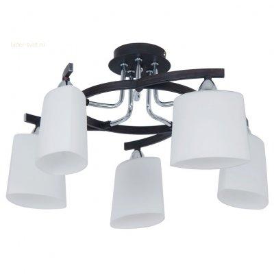 Citilux Тайфун CL136151 ЛюстраПотолочные<br><br><br>Установка на натяжной потолок: Да<br>S освещ. до, м2: 20<br>Крепление: Планка<br>Тип товара: Люстра<br>Тип лампы: накаливания / энергосбережения / LED-светодиодная<br>Тип цоколя: E14<br>Количество ламп: 5<br>MAX мощность ламп, Вт: 60<br>Диаметр, мм мм: 520<br>Размеры: Диаметр 52см. Высота 27см. Белое выдувное стекло.<br>Высота, мм: 250<br>Поверхность арматуры: матовый<br>Оттенок (цвет): под дерево<br>Цвет арматуры: серебристый