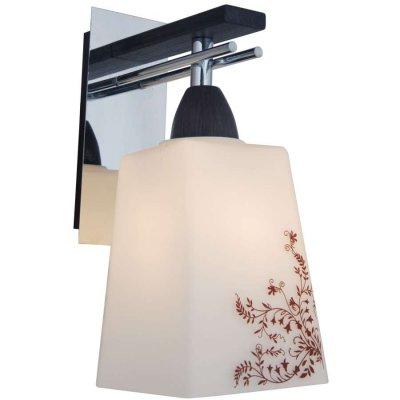 Citilux Креол CL145311 Светильник настенный браФлористика<br><br><br>S освещ. до, м2: 5<br>Крепление: настенное<br>Тип лампы: накаливания / энергосбережения / LED-светодиодная<br>Тип цоколя: E27<br>Количество ламп: 1<br>Ширина, мм: 110<br>MAX мощность ламп, Вт: 75<br>Размеры: С Выключателем, Высота 19см, Ширина 10см, Глубина 14см, Белое выдувное стекло с узором<br>Расстояние от стены, мм: 140<br>Высота, мм: 190<br>Поверхность арматуры: глянцевый<br>Оттенок (цвет): белый<br>Цвет арматуры: серебристый хром, венге
