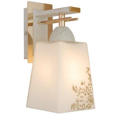 Citilux CL145312 Светильник настенный браМодерн<br><br><br>S освещ. до, м2: 5<br>Тип лампы: накаливания / энергосбережения / LED-светодиодная<br>Тип цоколя: E27<br>Количество ламп: 1<br>Ширина, мм: 100<br>MAX мощность ламп, Вт: 75<br>Размеры: С Выключателем, Высота 19см, Ширина 10см, Глубина 14см, Белое выдувное стекло с узором<br>Длина, мм: 140<br>Высота, мм: 190<br>Цвет арматуры: белый, золотой