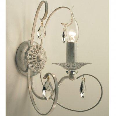 Citilux Джесси CL410312 Светильник настенный браРустика<br><br><br>S освещ. до, м2: 4<br>Тип лампы: накаливания / энергосбережения / LED-светодиодная<br>Тип цоколя: E14<br>Цвет арматуры: белый<br>Количество ламп: 1<br>Диаметр, мм мм: 180<br>Размеры: Ширина 18см, Высота 28см, Глубина 21см, Литые декоративные элементы + Хрусталь<br>Поверхность арматуры: глянцевый<br>MAX мощность ламп, Вт: 60