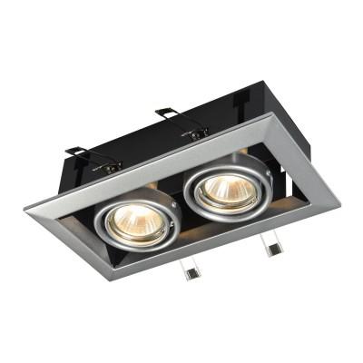 Встроенный светильник  Maytoni DL008-2-02-S MetalКарданные<br><br><br>Тип лампы: галогенная/LED<br>Тип цоколя: GU10<br>Цвет арматуры: Серебро<br>Количество ламп: 2<br>Ширина, мм: 245<br>Глубина, мм: 125<br>Высота, мм: 70<br>MAX мощность ламп, Вт: 50