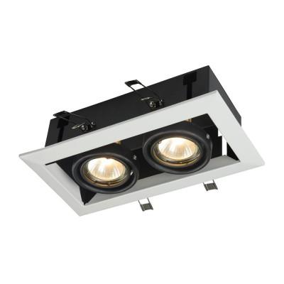 Встроенный светильник  Maytoni DL008-2-02-W MetalКарданные<br><br><br>Тип лампы: галогенная/LED<br>Тип цоколя: GU10<br>Цвет арматуры: Белый<br>Количество ламп: 2<br>Ширина, мм: 245<br>Глубина, мм: 125<br>Высота, мм: 70<br>MAX мощность ламп, Вт: 50