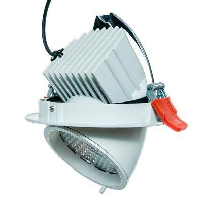 Светильник Aberlicht DLR-30/24 WW Vero технический светКруглые LED<br>Выдвижной, поворотный с высоким световым потоком 2500 Лм. Идеальная замена МГЛ светильников мощностью 35 — 70 Вт. В данном светильнике применяются высокоэффективные COB-светодиоды Bridgelux серии Vero c высоким показателем светоотдачи, 128Лм/Вт и отличной цветопередачей 80 CRI.  Заводская гарантия на светодиоды составляет 10 лет. Поворот вокруг своей оси на 360 градусов, а также подвижная выдвижная часть светильника, позволяет эффективно использовать их в различных сферах. Интегрированный в корпус, радиатор из алюминия позволяет эффективно отводить тепло от светодиода. Полимерное порошковое покрытие не восприимчиво к температурному воздействию, а также действию ультрафиолета, что гарантирует сохранение прекрасного внешнего вида светильника на протяжении всей его службы. Быстрозажимные клеммы блока питания упрощают его подключение. Применяется для профессионального освещения магазинов, торговых галерей, выставок, картинных галерей. Является прекрасной альтернативой карданным светильникам.<br><br>Тип лампы: LED<br>Тип цоколя: LED<br>MAX мощность ламп, Вт: 30<br>Диаметр, мм мм: 160<br>Диаметр врезного отверстия, мм: 145<br>Высота, мм: 120<br>Цвет арматуры: белый