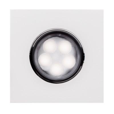Светильник даунлайт точечный квадратный Aberlicht 5V DLS-5/30 NW технический светДаунлайты<br>Стильный точечный потолочный светильник мощностью 5 Вт. Соизмерим с галогенным светильником 30 Вт.Технология LED. Температура свечения: нейтральный белый 4000К, теплый белый 3000К. Особая конструкция рассеивателя формирует узконаправленный пучок света с углом в 30 градусов. Подобная конструкция светильника позволяет сконцентрировать свет в определенной точке, исключает ослепляющий эффект. Долгую службу светильника гарантирует надежный блок питания, а также качественные светодиоды Samsung. Светильник имеет классическую форму, корпус подвижный, позволяет менять угол света. Совместимость со многими другими типами световых приборов.  Благодаря простому и быстрому монтажу, данный светильник является прекрасным решением в частном интерьере, а также в ресторанах, гостиницах и других помещениях.<br><br>Тип лампы: LED<br>Ширина, мм: 95<br>MAX мощность ламп, Вт: 5<br>Диаметр врезного отверстия, мм: 70<br>Длина, мм: 95<br>Высота, мм: 50<br>Цвет арматуры: белый/черный