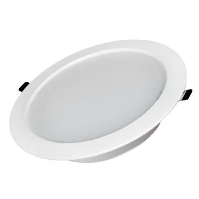 Светильник даунлайт 30W Aberlicht DL-30/90 WW белый корпус IP54 технический светДаунлайты<br>Светодиодный встраиваемый светильник ABERLICHT DL-30/90 IP54 WHITE с матовым рассеивателем 90 градусов. Цвет корпуса — белый. Идеальная замена люминесцентных светильников мощностью 35-60 Вт и светильников МГЛ 70 Вт.<br> Основное предназначение: освещение коммерческих и бытовых помещений, душевых, козырьков зданий, архитектурная подсветка зданий, освещение входных групп. В комплекте: светильник, драйвер, крепление светильника. Устанавливается в потолки типа: армстронг, гипсокартон, реечный потолок, грильято.<br><br>Тип лампы: LED<br>MAX мощность ламп, Вт: 30<br>Диаметр, мм мм: 230<br>Диаметр врезного отверстия, мм: 190<br>Высота, мм: 50<br>Цвет арматуры: белый