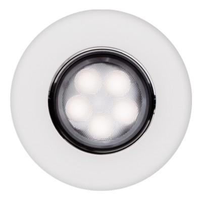 Светильник даунлайт точечный Aberlicht 5V DL-5/30 WW технический светДаунлайты<br>Яркий точечный потолочный светильник мощностью 5 Вт. Соизмерим с галогенным светильником 30 Вт. Может широко использоваться в проектировании домашнего интерьера. Особая конструкция рассеивателя формирует узконаправленный пучок света с углом в 30 градусов. Подобная конструкция светильника позволяет сконцентрировать свет в определенной точке, исключает ослепляющий эффект. Долгую службу светильника гарантирует надежный блок питания, а также качественные светодиоды Samsung. Светильник имеет классическую форму, корпус подвижный, позволяет менять угол света. Совместимость со многими другими типами световых приборов.<br><br>Тип лампы: LED<br>MAX мощность ламп, Вт: 5<br>Диаметр, мм мм: 95<br>Диаметр врезного отверстия, мм: 70 - 80<br>Высота, мм: 50<br>Цвет арматуры: белый