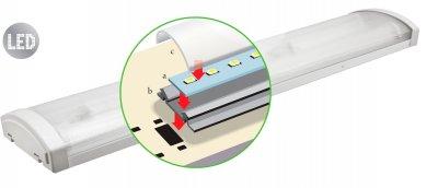 Светильник Navigator 94 588 DSO-MC1-224-IP20-LEDСветодиодные LED<br>Светодиодный энергосберегающий светильник с интегрированными светодиодными модулями предназначен для освещения внутри помещений объектов ЖКХ, муниципальных объектов, объектов промышленной и коммерческой недвижимости. Основные преимущества   Эффективные и надежные светодиоды EPISTAR (Тайвань) Ragt 75 80 Лм/Вт  Специальная конструкция светодиодного модуля:  монтажная плата из алюминия и алюминиевый радиатор обеспечивают эффективный теплоотвод дополнительный матовый рассеиватель, изготовленный из светотехнического поликарбоната с высокой светопропускной способностью обеспечивает распределение света идентичное линейной люминесцентной лампе    Рассеиватель из поликарбоната  Надежный драйвер с высоким КПД (PFgt 0.8)  Отсутствие пульсаций светового потока  Срок службы 40 000 часов  Гарантия 3 года<br><br>Цветовая t, К: 4000<br>Тип лампы: светодиодная<br>Ширина, мм: 128<br>MAX мощность ламп, Вт: 48<br>Длина, мм: 1205