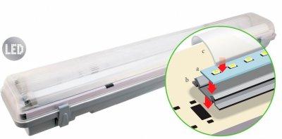 Светильник Navigator 94 585 DSP-AC-124-IP65-LEDЛинейные светодиодные светильники<br>Светодиодный пылевлагозащищенный энергосберегающий светильник с интегрированными светодиодными модулями предназначен для освещения помещений с повышенной влажностью и запыленностью.    Основные преимущества    Эффективные и надежные светодиоды EPISTAR (Тайвань) Ragt 75 80 Лм/Вт  Специальная конструкция светодиодного модуля:  монтажная плата из алюминия и алюминиевый радиатор обеспечивают эффективный теплоотвод дополнительный матовый рассеиватель, изготовленный из светотехнического поликарбоната с высокой светопропускной способностью обеспечивает распределение света идентичное линейной люминесцентной лампе   Противоударный рассеиватель из поликарбоната  Надежный драйвер с высоким КПД (PFgt 0.8)  Отсутствие пульсаций светового потока  Защита от влаги и пыли IP65  Срок службы 40 000 часов  Гарантия 3 года<br><br>Цветовая t, К: 4000<br>Тип лампы: светодиодная<br>Ширина, мм: 63<br>Длина, мм: 1210<br>MAX мощность ламп, Вт: 24