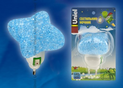 UNIEL DTL-309 Звездочка/BLUE/1LED/0,1W Светильник-ночник.Ночники<br><br>