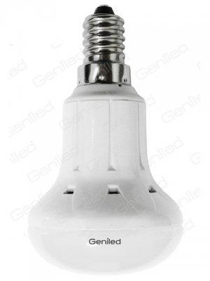 Светодиодная лампа Geniled E14 R50 7W 4200KЗеркальные E27, E14<br>Светодиодная лампа Geniled E14 R50 7W со стандартным цоколем Е14 применяется для точечной подсветки объектов интерьера или экспозиций. Подходит для большинства светильников, в которых используются лампы рефлекторного типа («грибок»). Корпус выполнен из белого алюминия и матового стекла.<br><br>Цветовая t, К: CW - холодный белый 4000 К<br>Тип лампы: LED - светодиодная<br>Тип цоколя: E14<br>MAX мощность ламп, Вт: 7<br>Диаметр, мм мм: 50<br>Высота, мм: 86