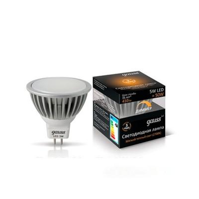 Лампа Gauss EB101505105-D LED димер Gauss LED MR16 GU5.3 5W 2700KСветодиодные лампы для точечных светильников<br>В интернет-магазине «Светодом» можно купить не только люстры и светильники, но и лампочки. В нашем каталоге представлены светодиодные, галогенные, энергосберегающие модели и лампы накаливания. В ассортименте имеются изделия разной мощности, поэтому у нас Вы сможете приобрести все необходимое для освещения.   Лампа Gauss EB101505105-D LED димер Gauss LED MR16 GU5.3 5W 2700K обеспечит отличное качество освещения. При покупке ознакомьтесь с параметрами в разделе «Характеристики», чтобы не ошибиться в выборе. Там же указано, для каких осветительных приборов Вы можете использовать лампу Gauss EB101505105-D LED димер Gauss LED MR16 GU5.3 5W 2700KGauss EB101505105-D LED димер Gauss LED MR16 GU5.3 5W 2700K.   Для оформления покупки воспользуйтесь «Корзиной». При наличии вопросов Вы можете позвонить нашим менеджерам по одному из контактных номеров. Мы доставляем заказы в Москву, Екатеринбург и другие города России.<br><br>Цветовая t, К: WW - теплый белый 2700-3000 К<br>Тип лампы: LED - светодиодная<br>Тип цоколя: GU5.3 (MR16)<br>Диаметр, мм мм: 50<br>Высота, мм: 54<br>MAX мощность ламп, Вт: 5