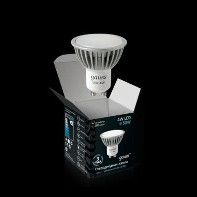 Лампа Gauss Led 4W GU10 220V 4100K (= 40W) EB101506204-D димм-яЗеркальные Gu10<br>Светодиодная продукция  Тип: Софитные          Мягкий теплый свет 4100КЦоколь GU10AC100-240V50x56 mm  ДИММИРУЕТСЯВремя работы 50 000 часовГарантия 3 годаАналог лампы накаливания 50W<br><br>Цветовая t, К: CW - холодный белый 4000 К<br>Тип лампы: LED - светодиодная<br>Тип цоколя: GU10<br>MAX мощность ламп, Вт: 2,5<br>Диаметр, мм мм: 50<br>Высота, мм: 56