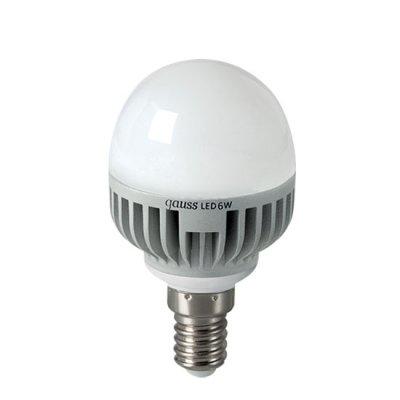 Лампа Gauss LED P45 Globe 6W E14 2700K EB105101106В виде шарика<br><br><br>Тип товара: лампа светодиодная LED<br>Тип лампы: LED - светодиодная<br>Тип цоколя: E14<br>MAX мощность ламп, Вт: 6