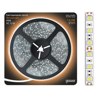 Лента LED 5050/60-SMD 14.4W 12V DC теплый белый IP66 (блистер 5м)Лента 5050<br><br><br>Тип лампы: LED - светодиодная<br>MAX мощность ламп, Вт: 14,4