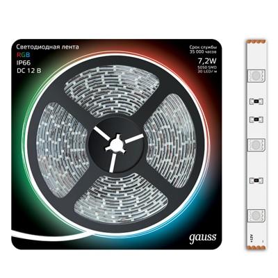Лента LED 5050-SMD 7.2W 12V DC RGB IP66 (блистер 5м)Лента RGB<br><br><br>Цветовая t, К: RGB - многоцветный<br>Тип лампы: LED - светодиодная<br>MAX мощность ламп, Вт: 7,2