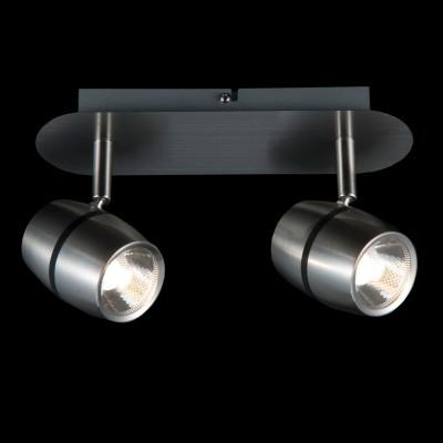 Светильник Maytoni ECO004-02-NДвойные<br><br><br>Тип товара: Светильник поворотный спот<br>Тип лампы: LED<br>Тип цоколя: LED<br>Количество ламп: 2<br>Ширина, мм: 160<br>MAX мощность ламп, Вт: 5<br>Длина, мм: 250<br>Высота, мм: 100<br>Цвет арматуры: серебристый